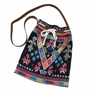 Johnny Was Embroidered Tribal Drawstring Tote Bag